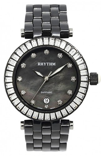 นาฬิกาผู้หญิง Rhythm รุ่น C1104C04, Sapphire Black Ceramic Swarovski Mother Of Pearl C1104C-04, C1104C 04