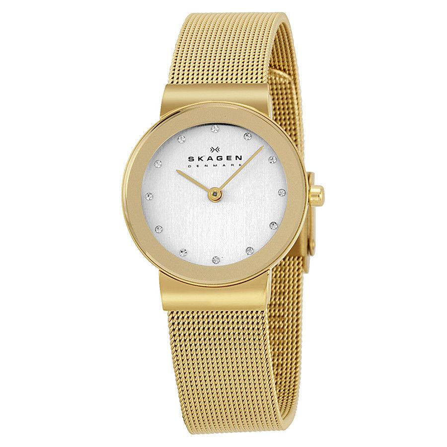 นาฬิกาผู้หญิง Skagen รุ่น 358SGGD, Freja Gold Tone Mesh Bracelet Women's Watch