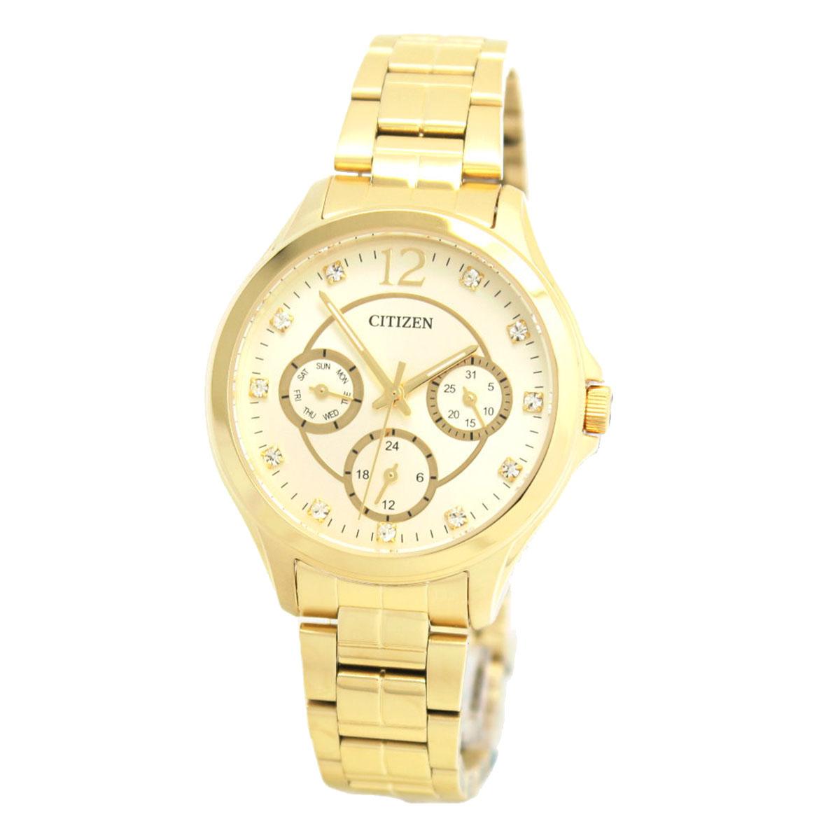 นาฬิกาผู้หญิง Citizen รุ่น ED8142-51P, QUARTZ Casual Analog with Gold Dial
