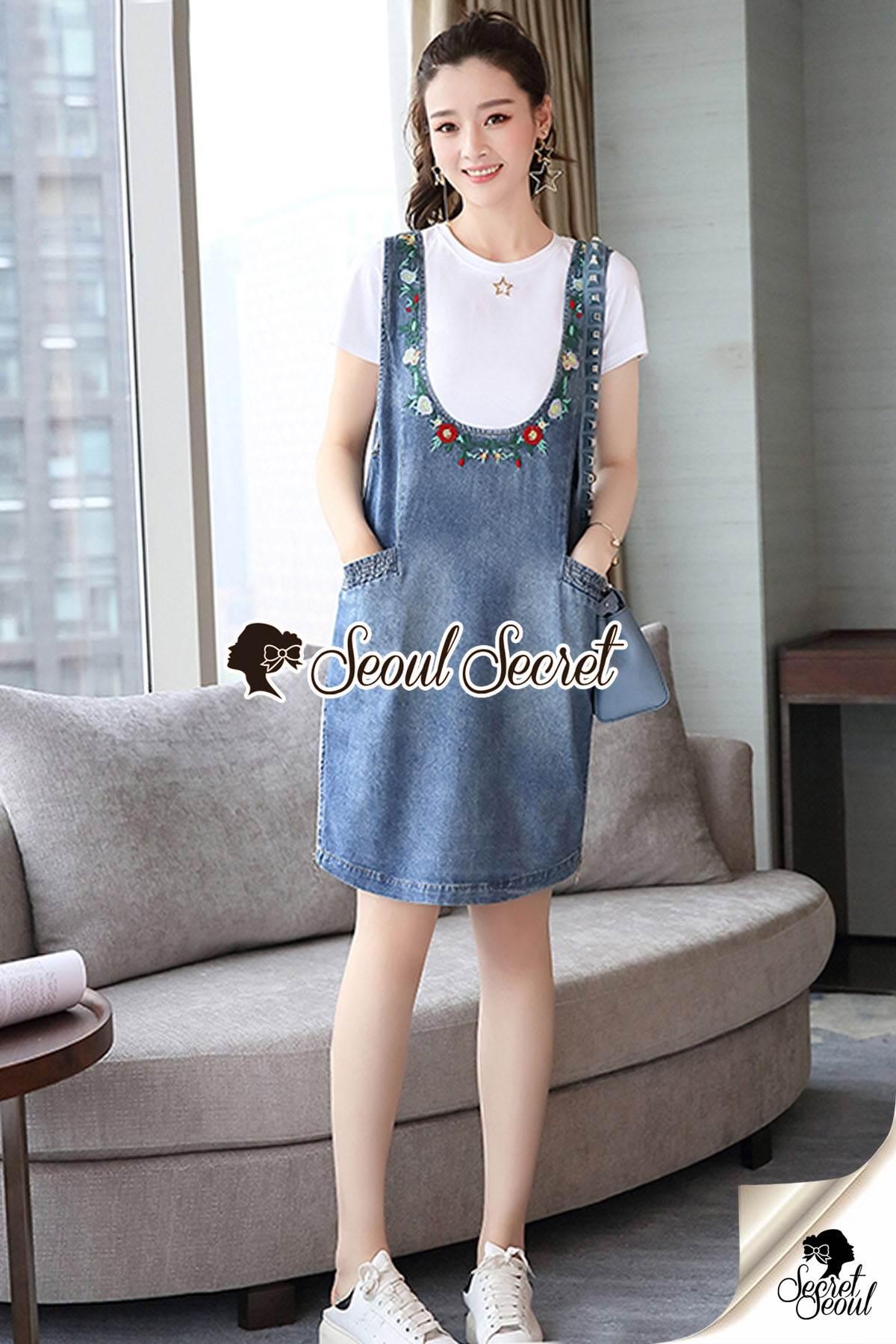 Seoul Secret Say's...Star pendant T-shirt Splitty Skirt Bibby Set
