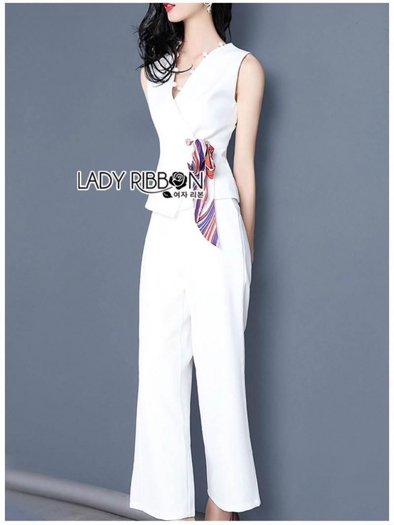 เสื้อผ้าแฟชั่นเกาหลี Lady Ribbon's Made Lady Rachel Smart Casual White Top with ColorfulRibbon and Side-Pleated Pants Set