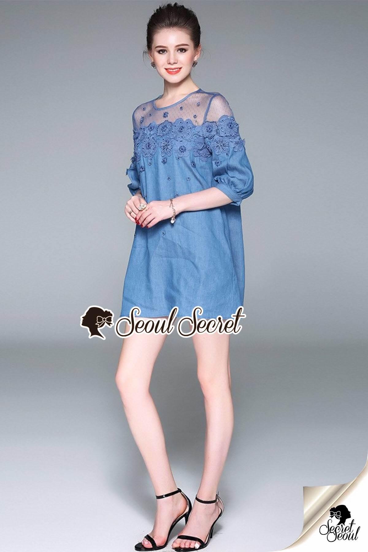 Seoul Secret Say's... Chill Mesh Fabric Lace Dress