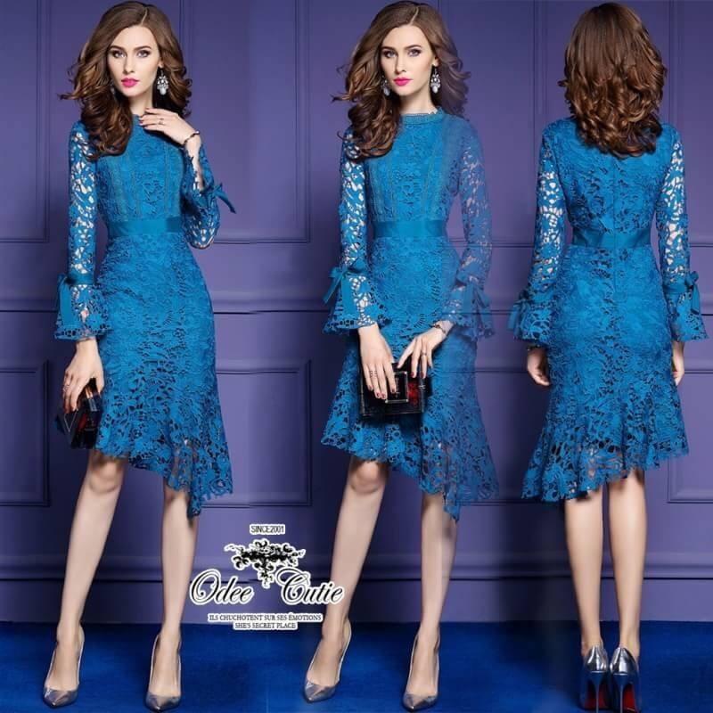 เสื้อผ้าแฟชั่นเกาหลี Valentino lace panel dressOdee&Cutie Daily Fashion 2017-