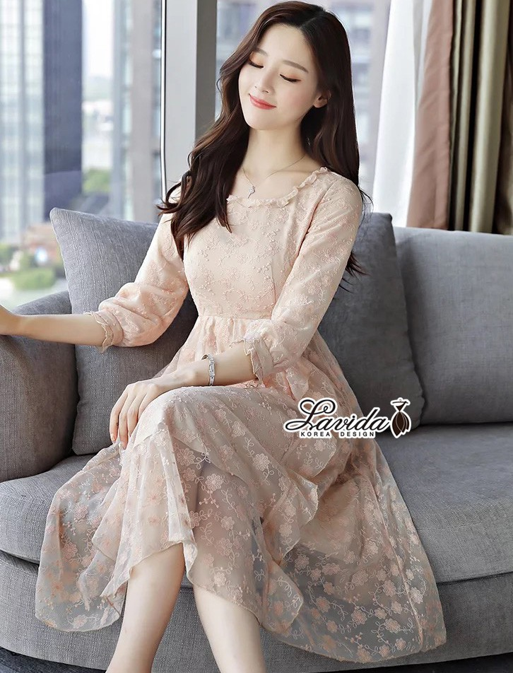 เสื้อผ้าแฟชั่นเกาหลี Korea Design By Lavida Flower lace long sleeve sweety dress code8216