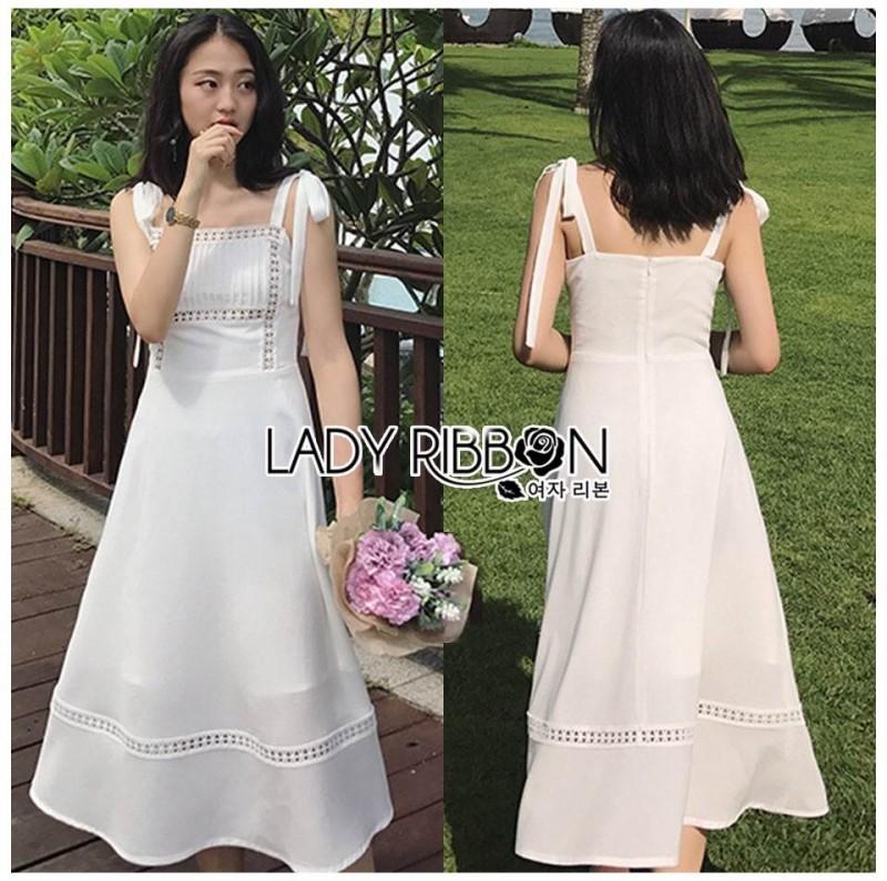 เสื้อผ้าแฟชั่นเกาหลี Lady Ribbon's Made Lady Kiera Holiday Bliss Ribbon Strap Embroidered White Linen Dress