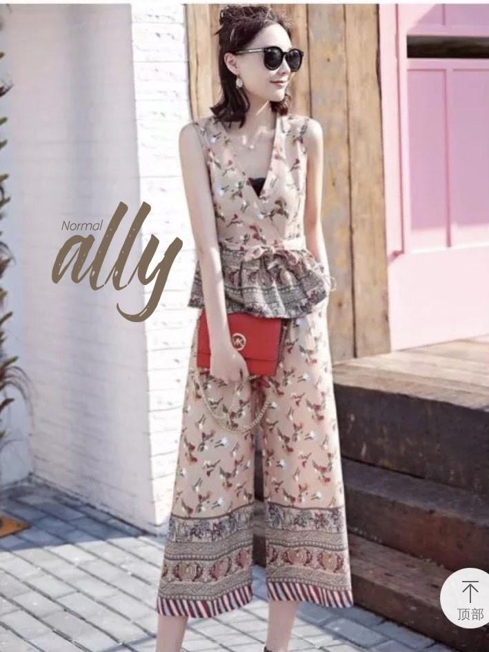 เสื้อผ้าแฟชั่นเกาหลี New Arrival.. Don't Miss!! Normal Ally Present Asian unique print shirt and pant set