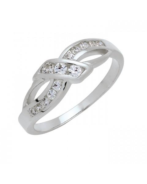 แหวนประดับเพชรฝังสอด หุ้มทองคำขาวแท้