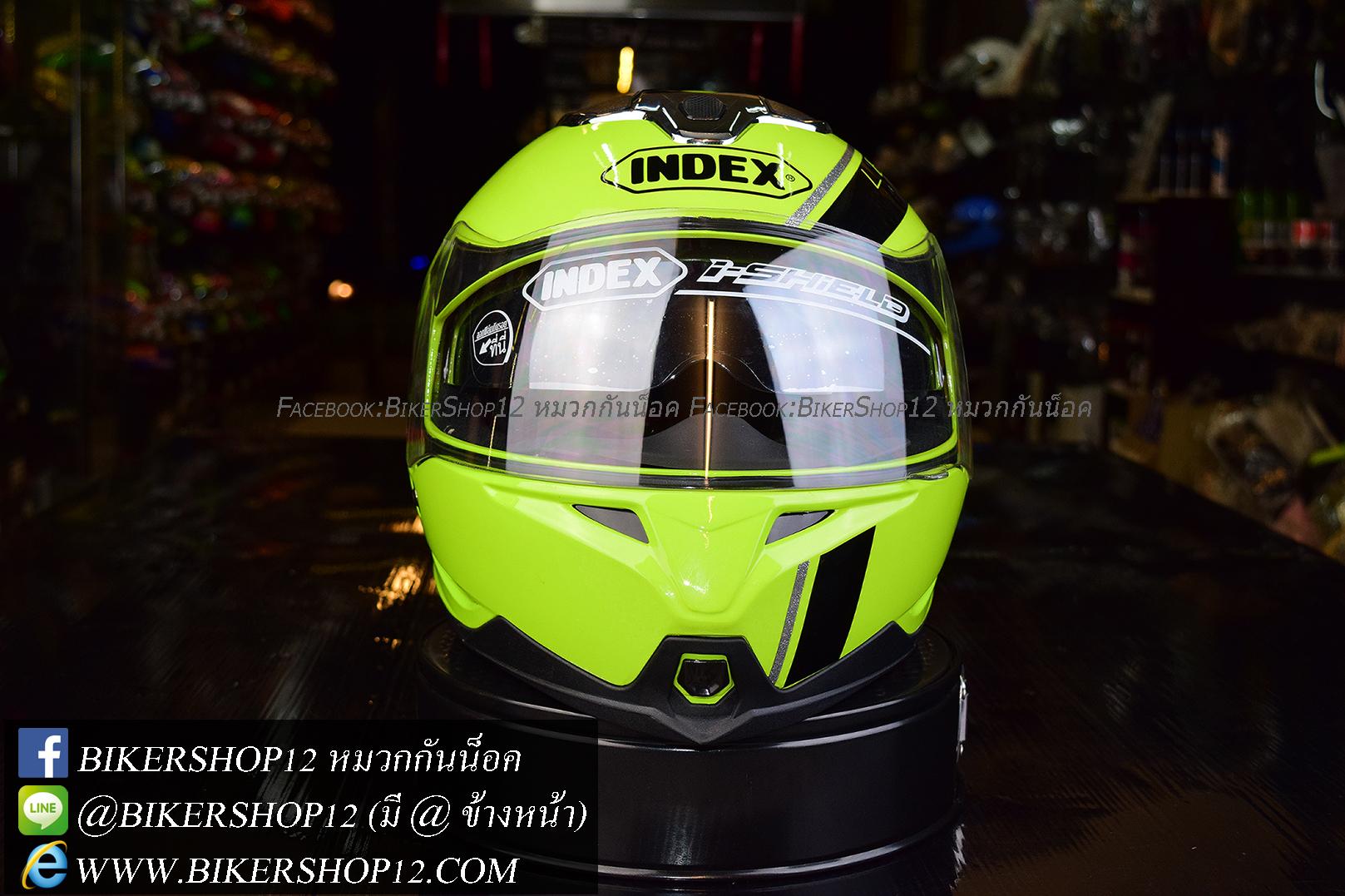 หมวกกันน็อค INDEX รุ่น Legenda i-shield สี NEON GREEN-BLACK