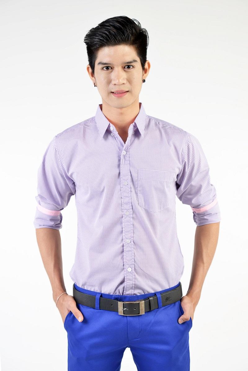 เสื้อเชิ้ตผู้ชายลายตารางสีม่วง ผ้าคอตตอน