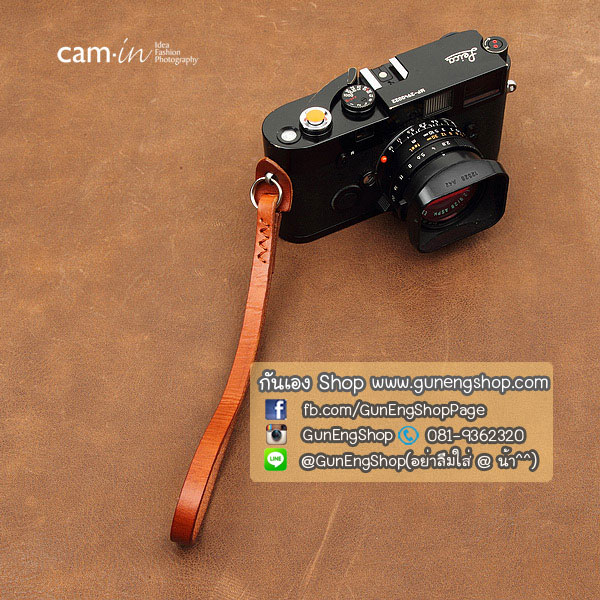 สายคล้องข้อมือกล้องหนังแท้ Cam-in Camera Wrist Strap สีน้ำตาลอ่อน