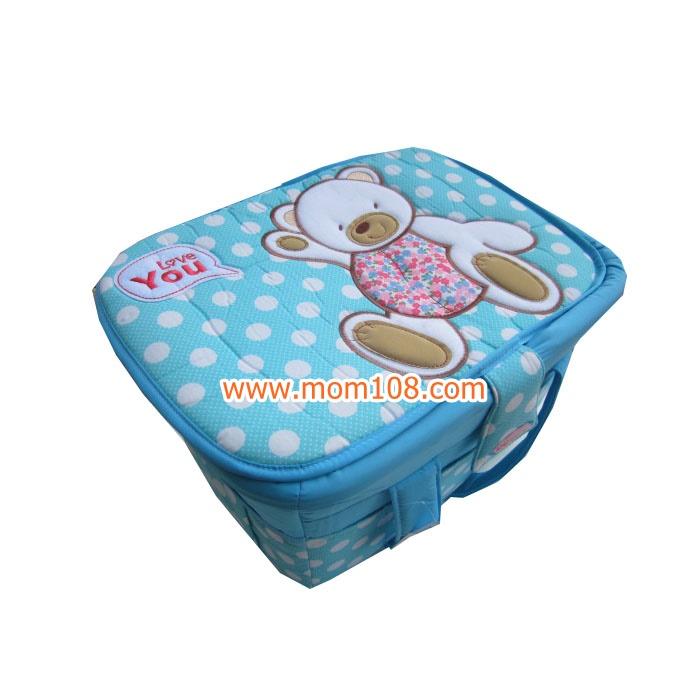 กระเป๋าถือใส่สัมภาระเด็ก (ลายหมี) สีฟ้า ขนาดใหญ่ 35x45x27cm. มีฝาปิด