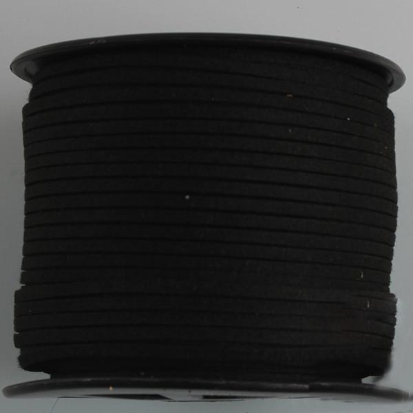 [3 มิล] เชือกหนังชามุด สี 06 (ดำ) ม้วนใหญ่ (100 หลา)