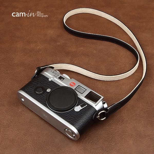 สายคล้องกล้องหนังแท้ cam-in Plain Black and white