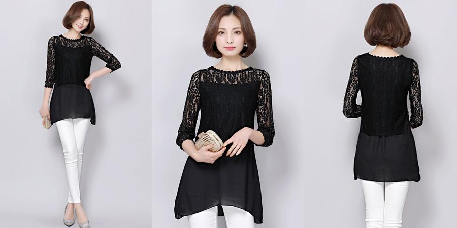 เสื้อแฟชั่นสวยๆสีดำ คอกลมแต่งลายปักเป็นรูปวงกลม แขนห้าส่วน สวยเก๋ ดูดี