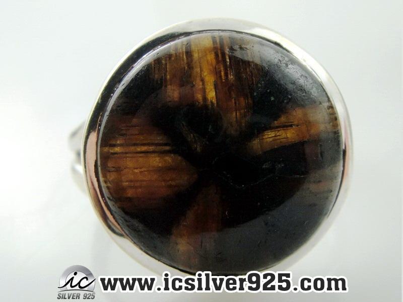 ไคแอสโทไลต์ (Chiastolite-Cross stone) แหวนเงินแท้ 925 (แหวนเบอร์ : 61 , 6.1g)