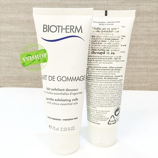Biotherm Lait De Gommage Gentle Exfoliating Milk 75 ml. โลชั่นน้ำนมผลัดผิวสูตรอ่อนโยน ผสานน้ำมันมะกอกและวิตามินอี ปรับผิวให้เรียบเนียน *ลดพิเศษ 35%*