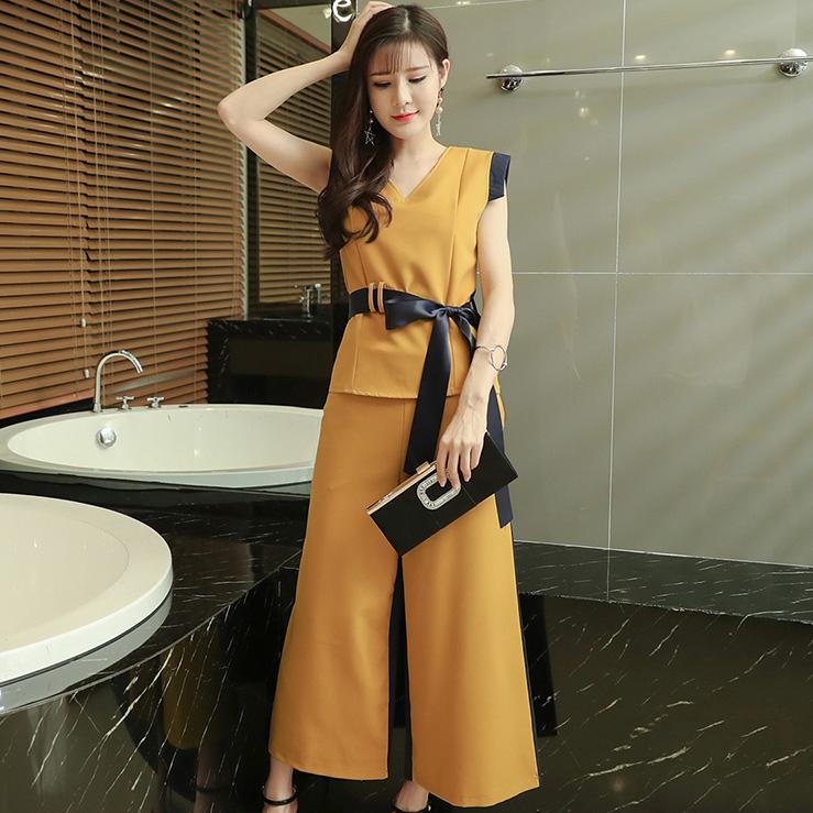 ชุดเซ็ทเสื้อ-กางเกงขายาวสีเหลือง