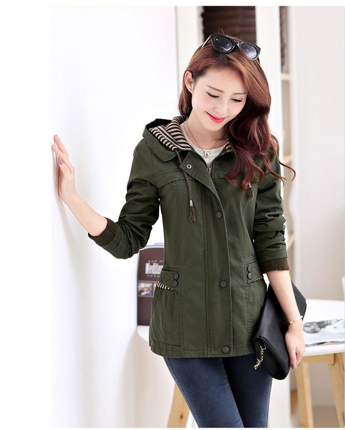 เสื้อกันหนาวผู้หญิงแฟชั่นเกาหลี สีเขียวทหาร แจ็คเก็ต มีฮู้ด ลายทาง สม๊อคช่วงเอว