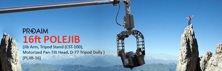 PROAIM 16ft PoleJib Supporting Cameras Weighing upto 1.9kg / 4.2lbs ( Jib Arm, Tripod Stand (CST-100), Motorized Pan-Tilt Head, D-77 Tripod Dolly ) (PLJIB-16)