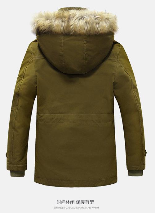 เสื้อกันหนาวผู้ชาย เสื้อแจ็คเก็ตผู้ชายมีฮู้ดติดเฟอร์ เท่ๆ สีเขียวขี้ม้า ซับบุขนอุ่นๆ
