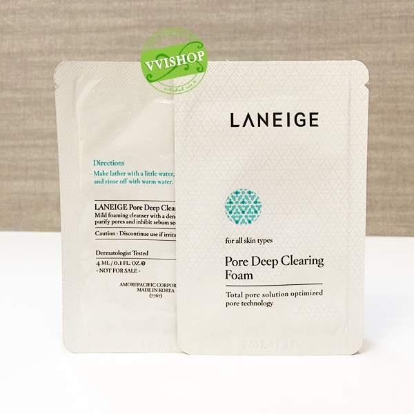 Laneige Pore Deep Clearing Foam 4 ml. โฟมครีม ล้างหน้าอ่อนนุ่ม ทำความสะอาดผิวอย่างล้ำลึก กระชับรูขุมขน ลดสิว
