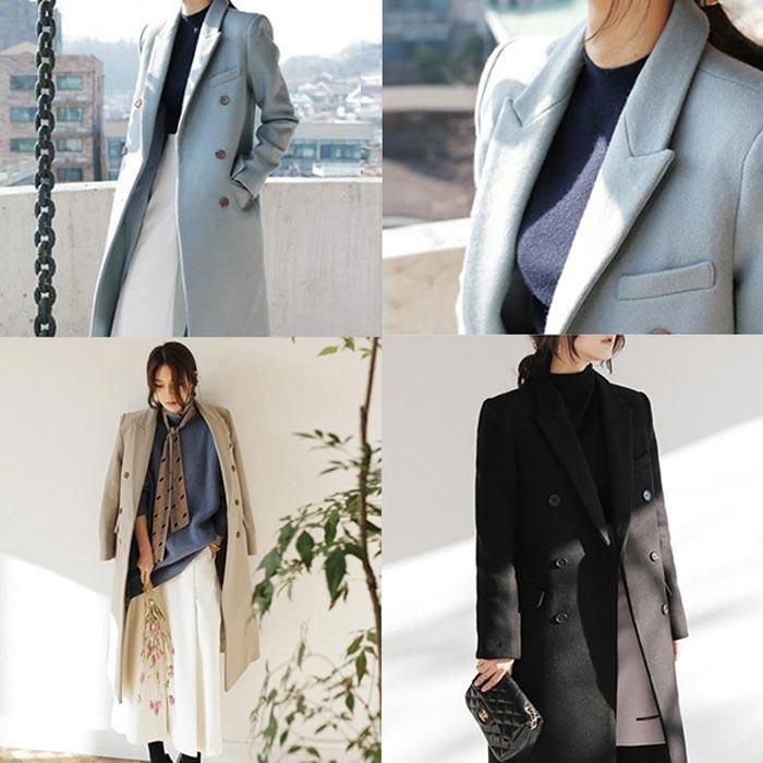 เสื้อโค้ทกันหนาวผู้หญิง สีดำ ตัวยาวคลุมเข่า ใส่เที่ยวต่างประเทศสวยๆ