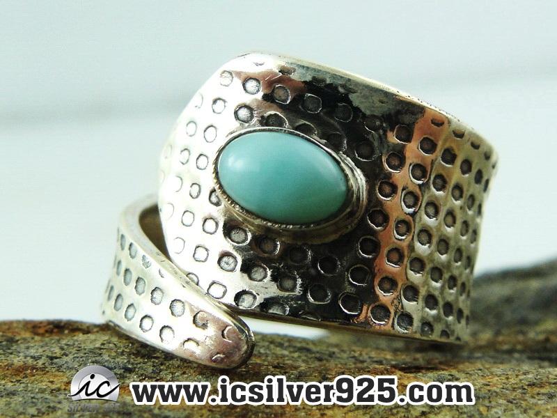 ▽ลาริมาร์ (Larimar) แหวนเงินแท้ 925 (แหวนเบอร์ : 55)