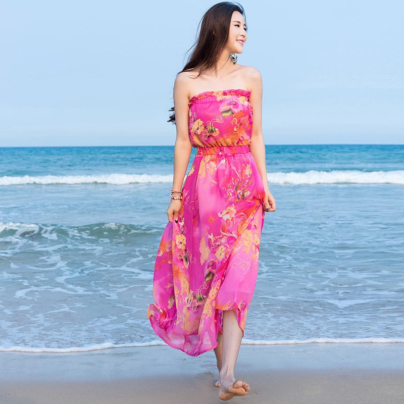 ชุดเดรสยาวเที่ยวทะเลสีชมพู เกาะอก