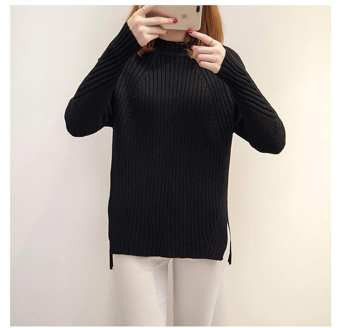 เสื้อไหมพรมแฟชั่นกันหนาว เสื้อสเวตเตอร์คอกลม สีดำ แขนยาว ยาวคลุมสะโพก น่ารัก