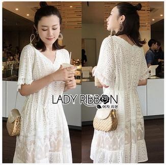 Sweet and Pure Ruffle Lady Ribbon Lace Dress