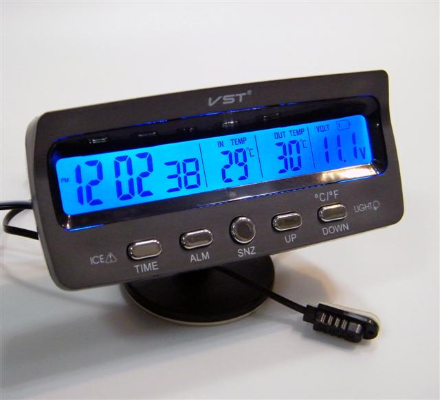 VST7045V Car Alarm Clock With In/Out Thermometer & Battery Monitor