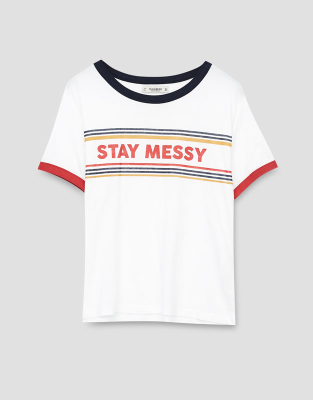 Pull&Bear Patch T-shirt with slogan