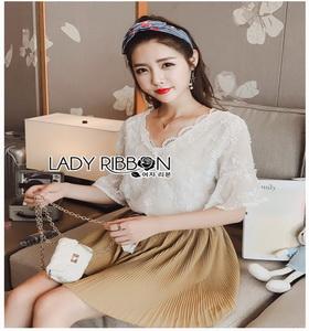 Mini Flower White Chiffon Lady Ribbon เสื้อผ้าชีฟองสีขาว