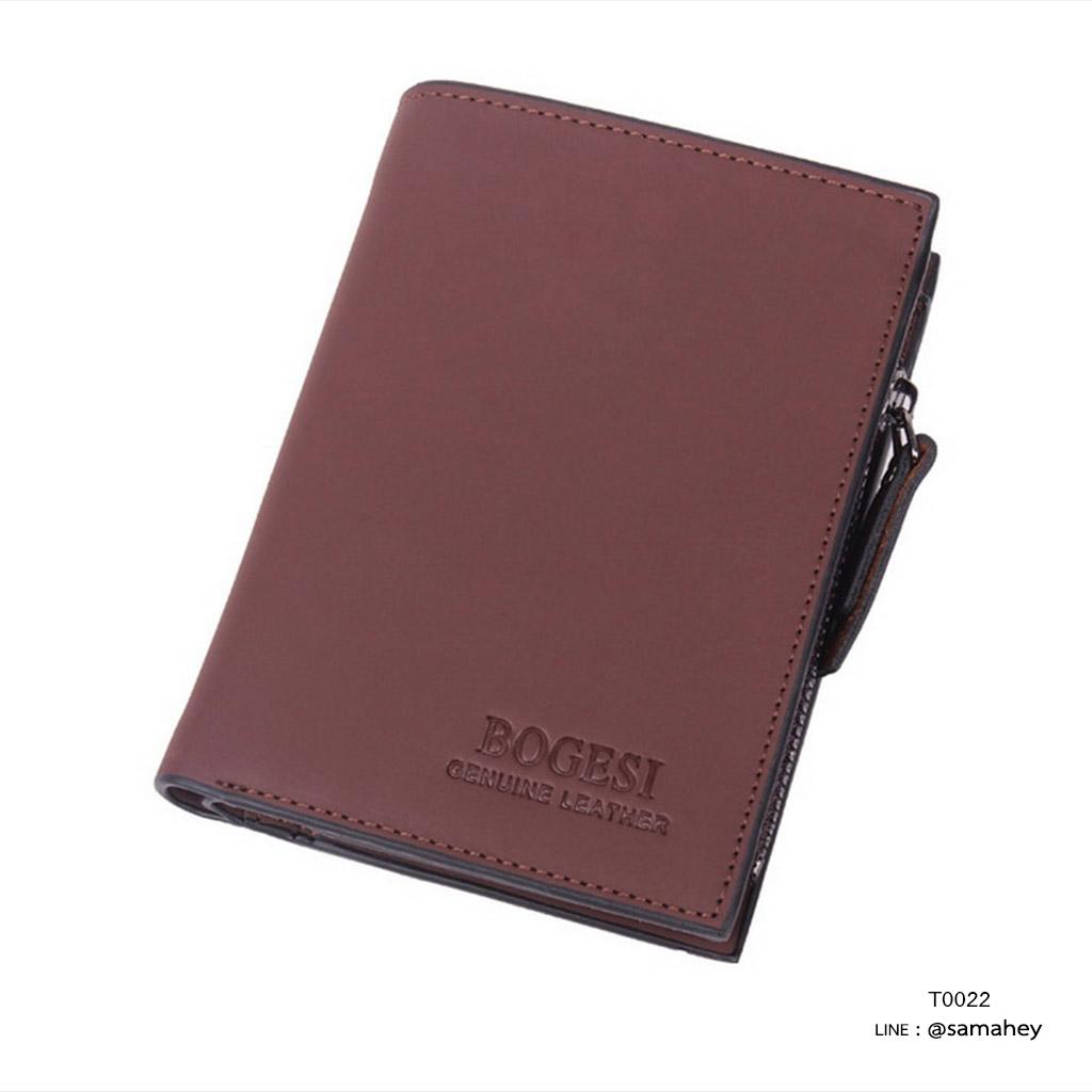 กระเป๋าสตางค์ผู้ชาย หนังแท้ ทรงตั้ง BOGESI รุ่น VEN - สีน้ำตาล