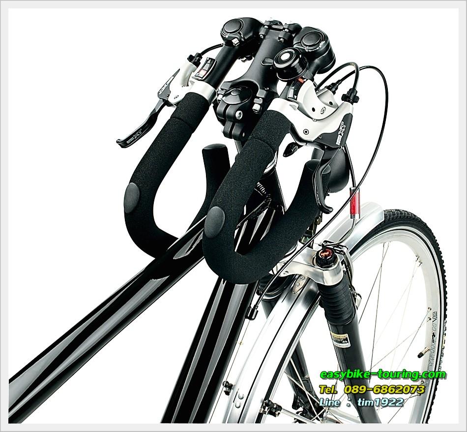 แฮนด์ผีเสื้อปรับระดับได้-พับได้ ERGOTEC AHS Premium / สีดำ 25.4 ไม่ OVER