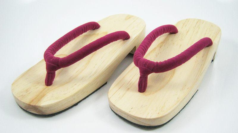 New Geta-02 รองเท้าเกี๊ยะทรงเตี๊ย ไม้ธรรมชาติ เชือกสีบานเย็นอ่อน