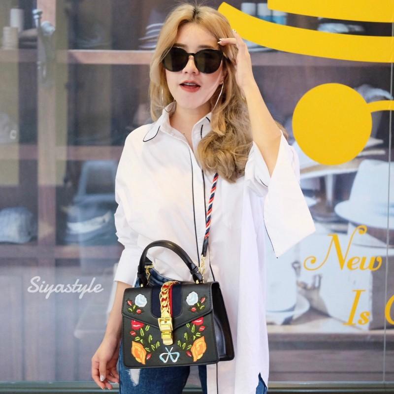 กระเป๋าสะพายแฟชั่น กระเป๋าสะพายข้างผู้หญิง GG Style [สีดำ]