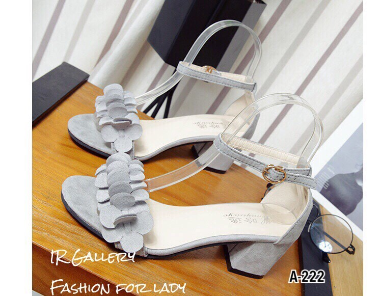 รองเท้าส้นเหลี่ยมรัดข้อ A-222-เทา (สีเทา)