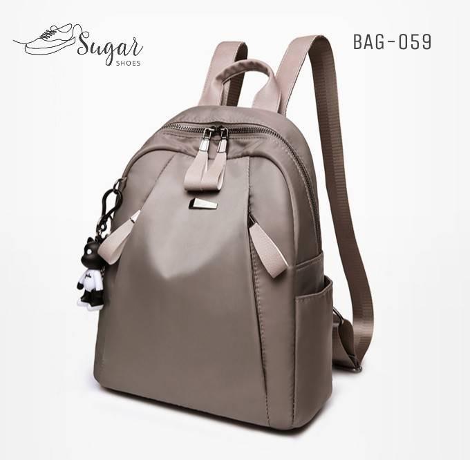 แบบมาใหม่ ทรงสุดฮิต กระเป๋าเป้ผู้หญิงผ้าไนล่อนอย่างดี BAG-059-เทา (สีเทา)