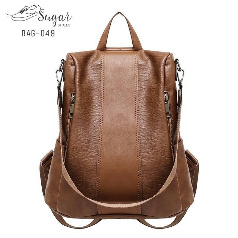 กระเป๋าเป้ผู้หญิงหนังPU สะพายได้หลายแบบ BAG-049-น้ำตาล (สีน้ำตาล)