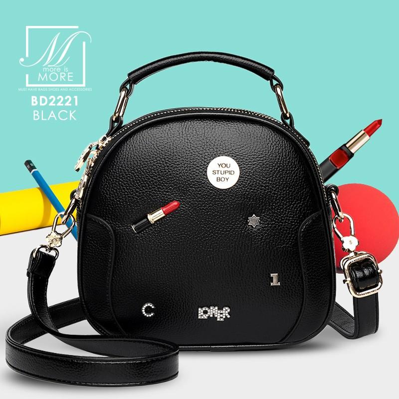 กระเป๋าสะพายกระเป๋าถือ แฟชั่นนำเข้าทรงสวย แบรนด์ BEIBAOBAO แท้ BD2221-BLK (สีดำ)