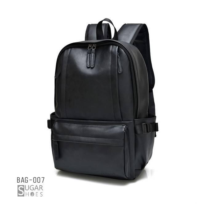 พร้อมส่ง กระเป๋าเป้หนังผู้ชาย-BAG-007 [สีดำ]