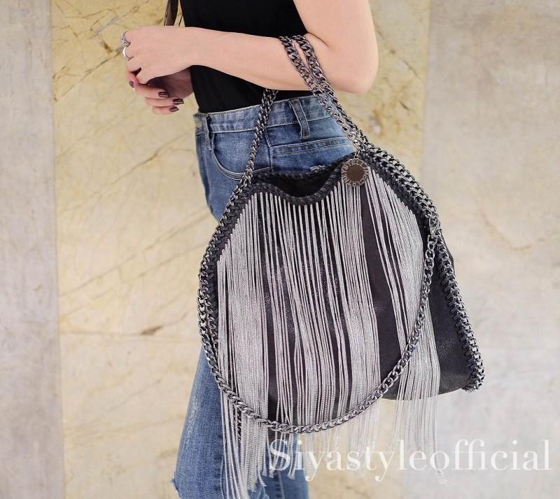 พร้อมส่ง กระเป๋าสะพายข้างผู้หญิง SL style ลายดาว [สีเงิน]