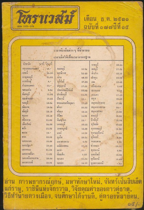 โหราเวสม์ ฉบับที่ ๑๗๗ ปีที่ ๑๕ พ.ศ ๒๕๓๑