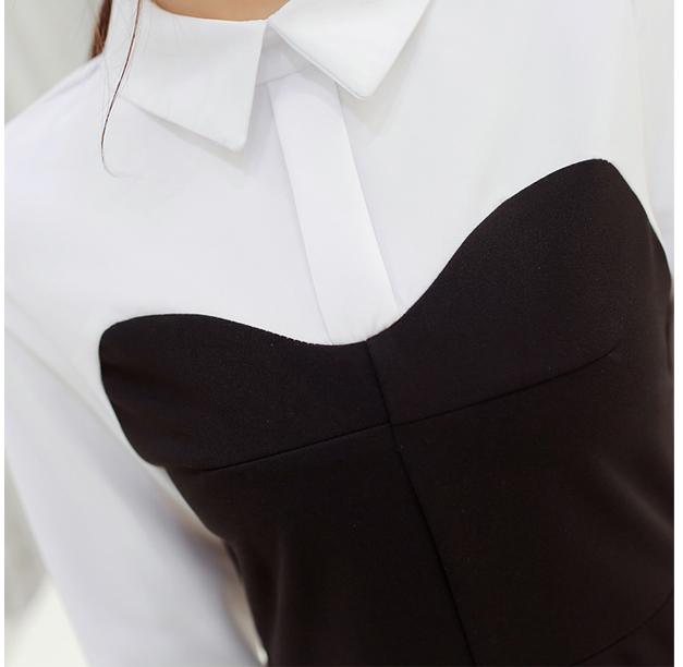 ชุดเดรสทำงานสีดำแขนยาวสีขาวกระโปรงบานเก๋ๆ