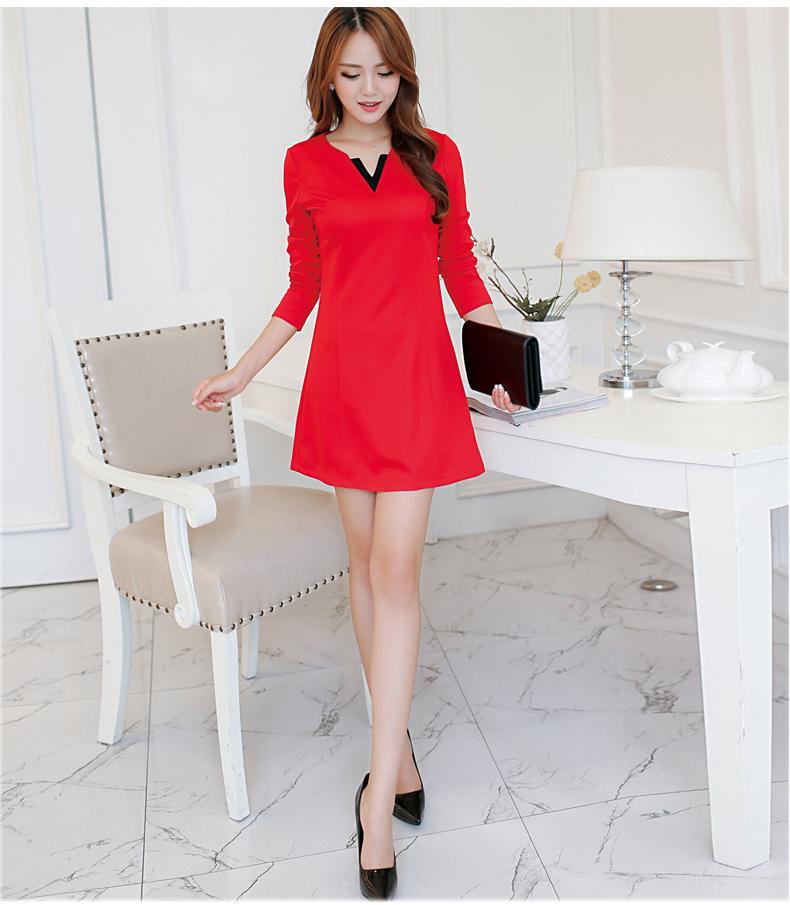 รับตัวแทนจำหน่ายชุดเดรสทำงานแฟชั่นเกาหลีสีแดงคอวีกระโปรงบาน