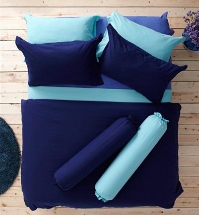 ชุดเครื่องนอน ผ้าปูที่นอน : อิมเพรสชั่น ผ้าสีพื้น : LI - SD -22 สีกรมท่า