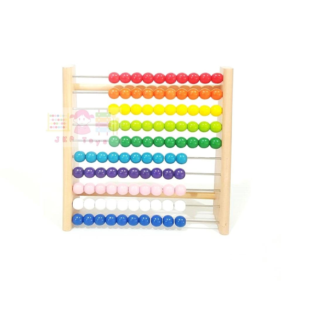 ของเล่นไม้เสริมพัฒนาการ ลูกคิด 10 แถว สอนนับเลข ขนาดกลางใช้ตัั้งโต๊ะเล่นได้
