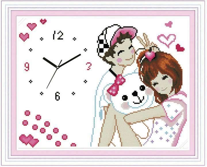 นาฬิกาคู่รักครอสติสพิมพ์ลาย