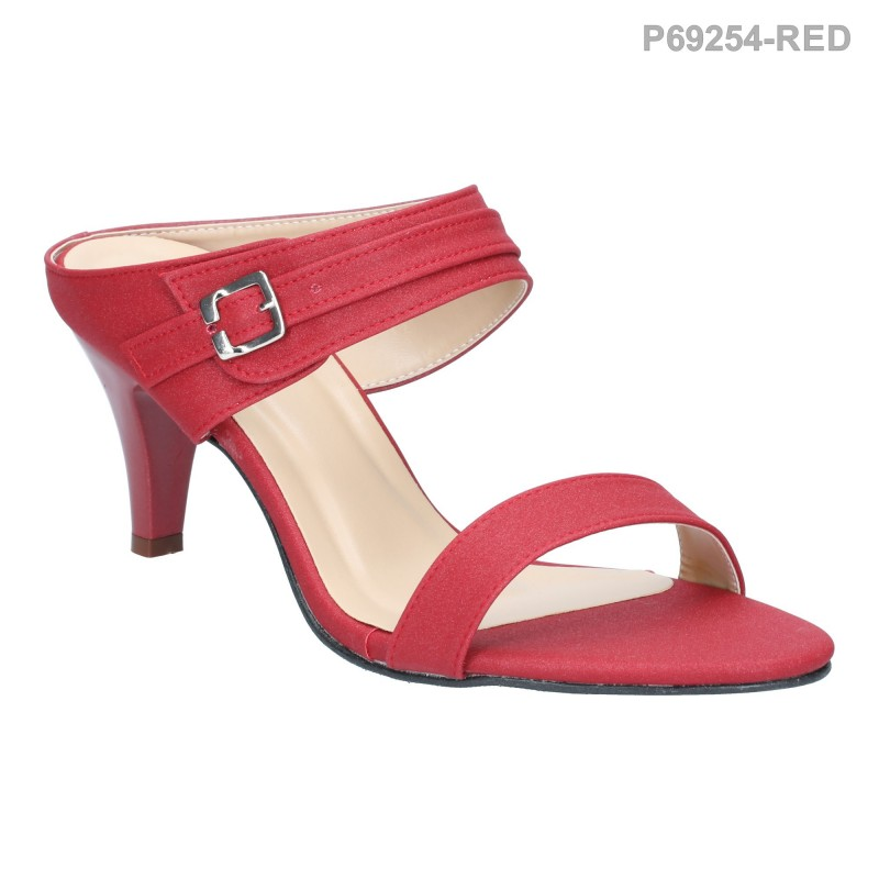 รองเท้าแตะ ส้นสูง เปิดส้น สายคาดสองตอน (สีแดง )